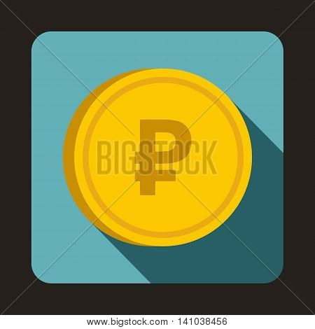 Coin ruble icon in flat style with long shadow. Monetary currency symbol