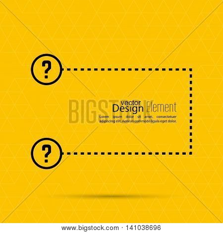 Question mark blank template. Help symbol. FAQ sign icon. Empty vector form.  information, text box, textbox on yellow background.