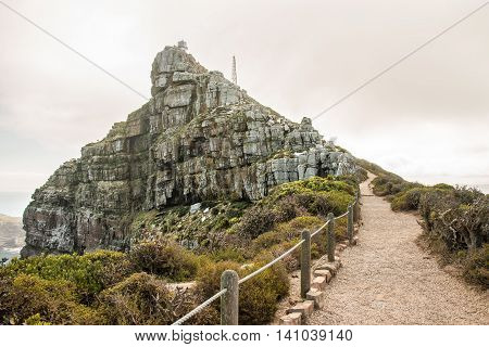Walking path to Cape Point at the southern tip of South Africa