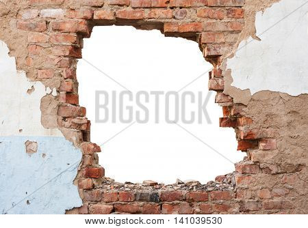 Hole brick wall