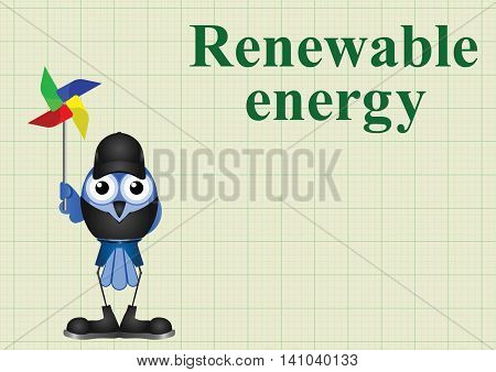 Comical renewable energy with windmill on graph paper background