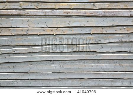 Light Blue Wood Wall Background From Unedged Overlapped Rough Boards