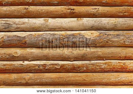 Log Cabin Debarked Wall Textured Horizontal Background