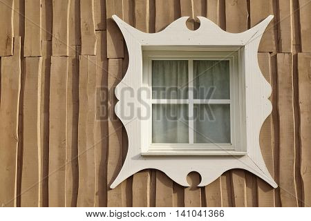 Wooden Overlapped Boarded Wall Background With Single Window