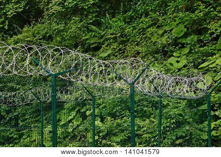 Wire Sectional Fence Panel With PVC Coated And Barb Razor Wire With Central Reinforcement. Secur Perimeter Fencing At Privacy Area