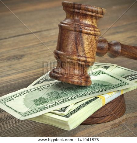 Judges Or Auctioneer Gavel And Dollars Cash On  Wooden Table