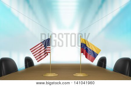 United States and Venezuela relations and trade deal talks, 3D rendering