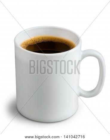 White ceramic coffee mug. Isolated on a white