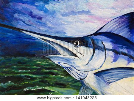 The paintings. Blue Marlin out of the water