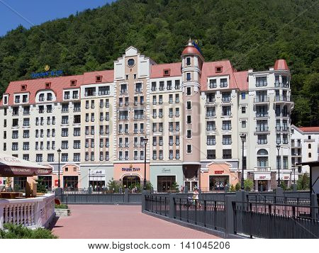 ROSA KHUTOR, RUSSIA - AUGUST 12, 2014: Views of the ski resort Rosa Khutor with the cable car. Here were all the main competitions of the Winter Olympic Games 2014.