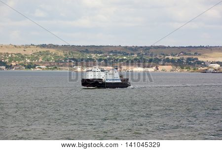 RUSSIA, KERCH 12, 2014: Car ferry service between Krasnodar region and the Crimea