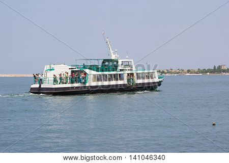 CRIMEA, SEVASTOPOL, JUNE 13, 2014: Passenger boat plying in the Sevastopol Bay