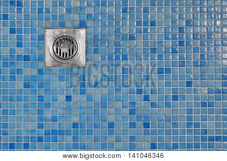 Outdoor Shower Cabin Blue Tiled Floor  With Grate Of Outflow