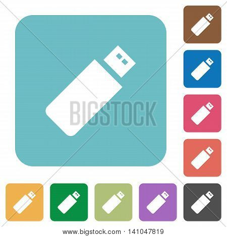 Flat pendrive icons on rounded square color backgrounds.
