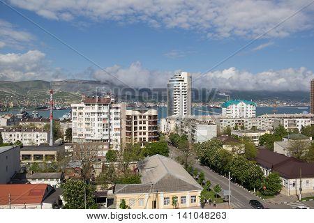 RUSSIA, NOVOROSSIYSK - MAY 9, 2015:Views of Novorossiysk on a sunny day. Novorossiysk is a major sea port in Russia