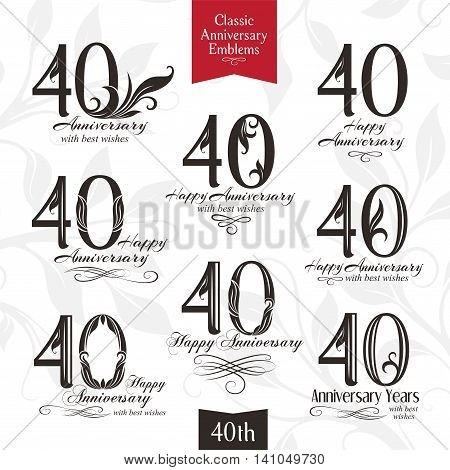 40th anniversary emblems. Templates of anniversary birthday and jubilee symbols