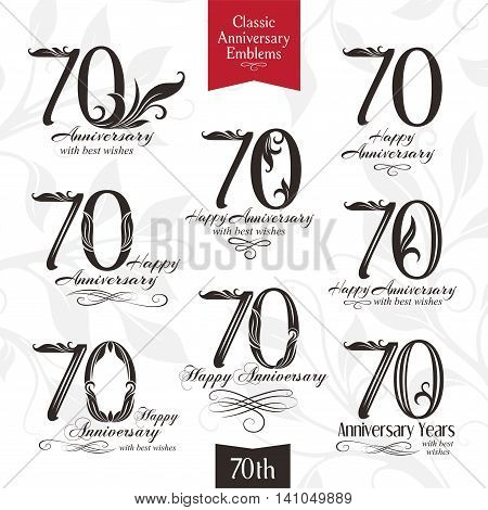 70th anniversary emblems. Templates of anniversary birthday and jubilee symbols