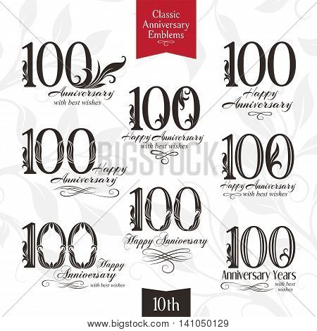 100th anniversary emblems. Templates of anniversary birthday and jubilee symbols