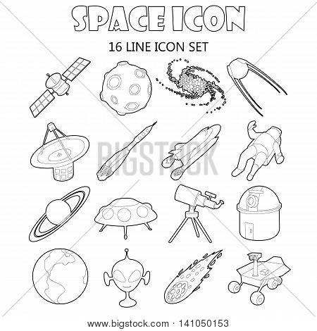 Space icons set in outline style. Space and astronomy elements set collection vector illustration
