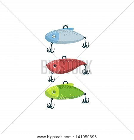 Three Fishing Spoon-baits In Shape Of Fish Bright Color Cartoon Simple Style Flat Vector Illustration Isolated On White Background