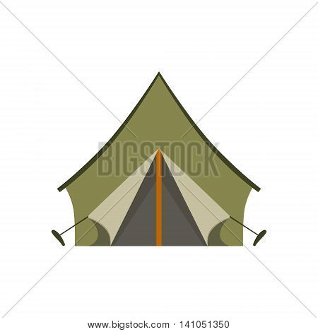 Khaki Tarpauline Camping Tent Bright Color Cartoon Simple Style Flat Vector Illustration Isolated On White Background