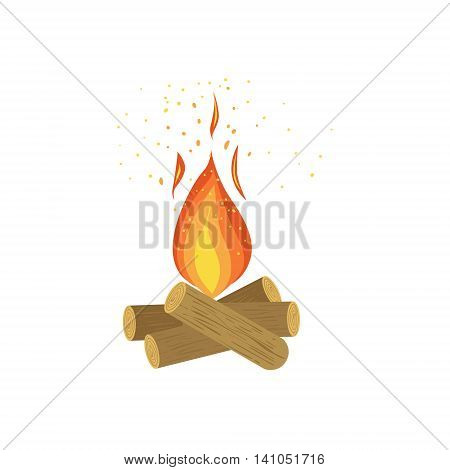 Camp Fire On Logs Of Wood Bright Color Cartoon Simple Style Flat Vector Illustration Isolated On White Background