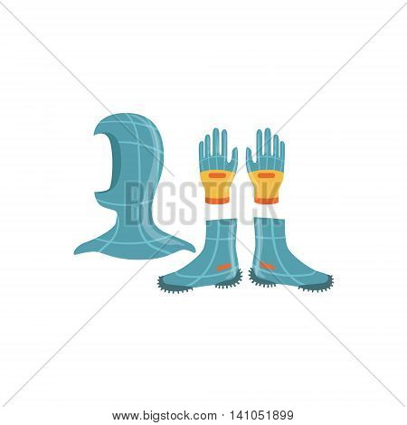 Neoprene Gloves, Hood And Boots For Diving Bright Color Cartoon Simple Style Flat Vector Illustration Isolated On White Background