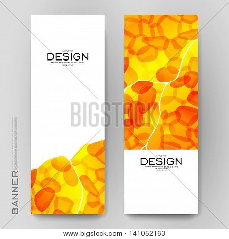 Beautiful banner vector template with orange abstract background. Creative modern design