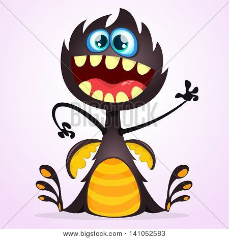 Vector cartoon dragon monster with tiny wings. Black dragon character waving his hand. Furry black dragon illustration. Black monster with big mouth and teeth icon. Black dragon cartoon character