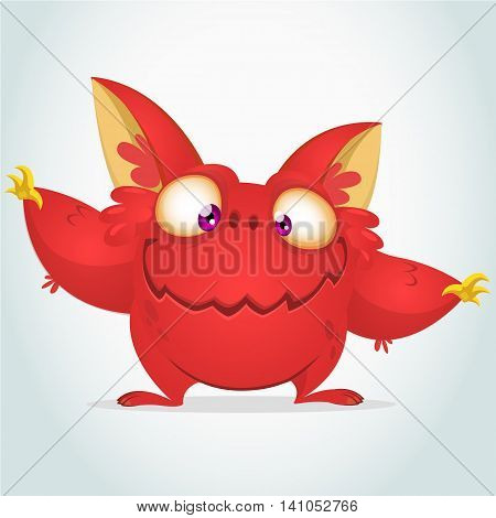 Vector cartoon red monster with big ears. Halloween fluffy red monster waving his hands. Monster game character