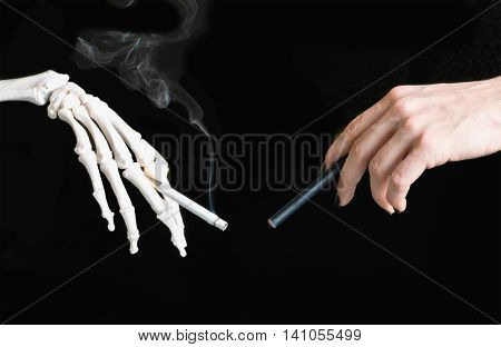 E-Cigarette vs cigarette concept,  close up image, horizontal