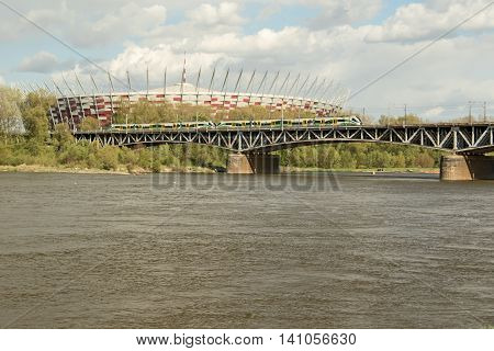 The National Stadium of Warsaw on the banks of Vistula river