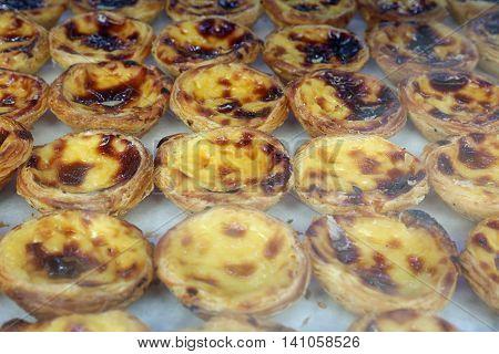 Pasteis de Belem or Pasteis de Nata  (Portuguese Cake). Lisbon. Portugal