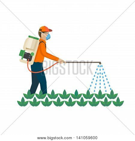 Agricultural chemicals are spayed by farmer over the plants, colorful vector flat illustration