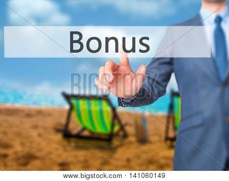 Bonus - Businessman Hand Touch  Button On Virtual  Screen Interface
