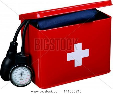 First aid kit with blood pressure cuff - isolated image