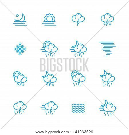 Weather blue line icons meteo icons collection