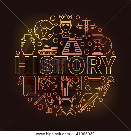 History colorful linear illustration. Vector golden history school subject round symbol on dark background in thin line style