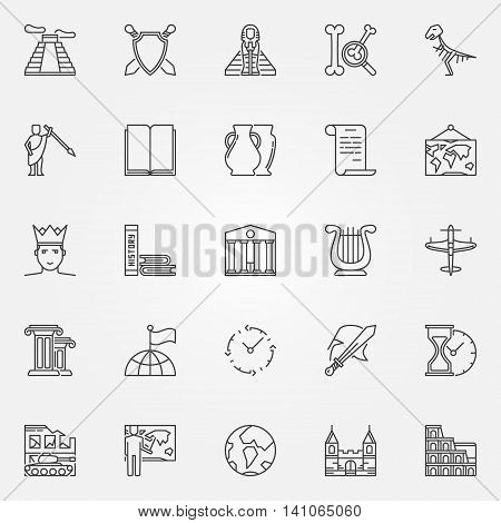 History icons set - vector collection of thin line history school subject signs or design elements