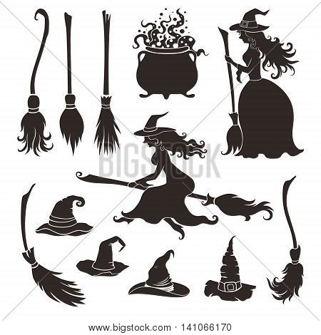 Halloween witches with brooms and hats. Decorative elements