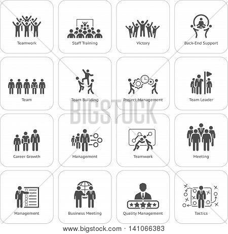 Flat Design Business Team Icons Set including Meeting, Training, Teamwork, Team Building, Management, Career, Tactics. Isolated Illustration. App Symbol or UI element.