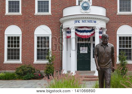 BOSTON,MASSACHUSETTS,USA - JULY 12,2016: The John F. Kennedy Hyannis Museum is a historical museum located at 397 Main Street Hyannis Massachusetts.