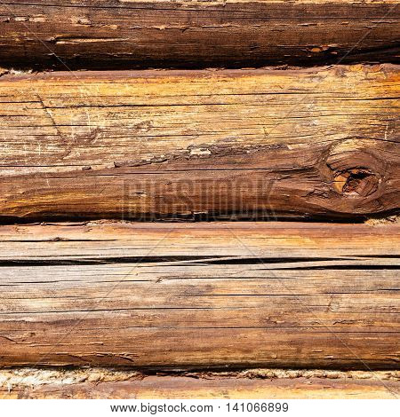 Old Oak Beams Of Country House Wall