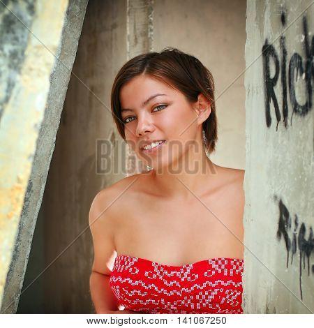 Portrait of a beautiful sexy brunette girl