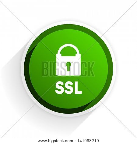 ssl flat icon with shadow on white background, green modern design web element