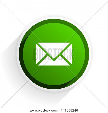 email flat icon with shadow on white background, green modern design web element