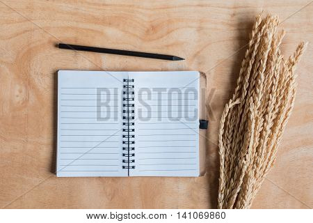 Top view of notepad with wheat ears on wooden table background.