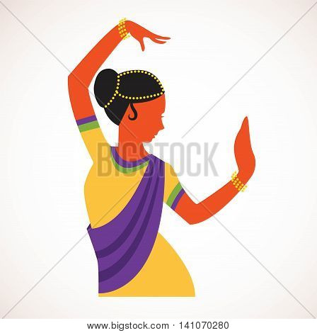 Indian girl wearing traditional clothing dancing Indian dance