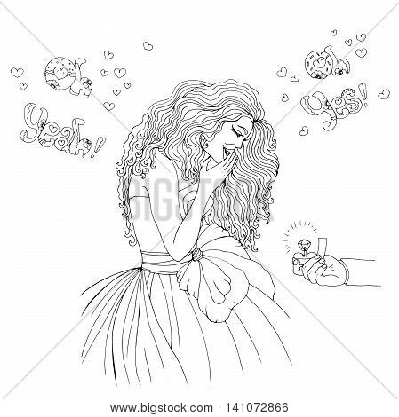 Vector hand drawn happy girl. Man makes marriage proposal to girlfriend. Proposed wedding. Marriage proposal. Phrase oh yeah, oh yes. On isolated white background