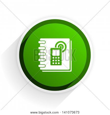 phonebook flat icon with shadow on white background, green modern design web element